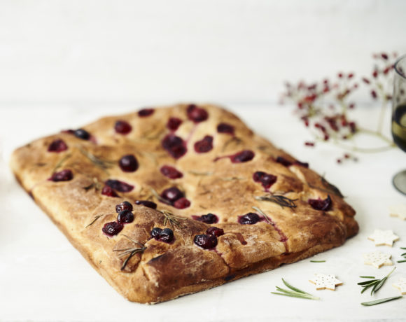 Focaccia with cranberries and rosemary