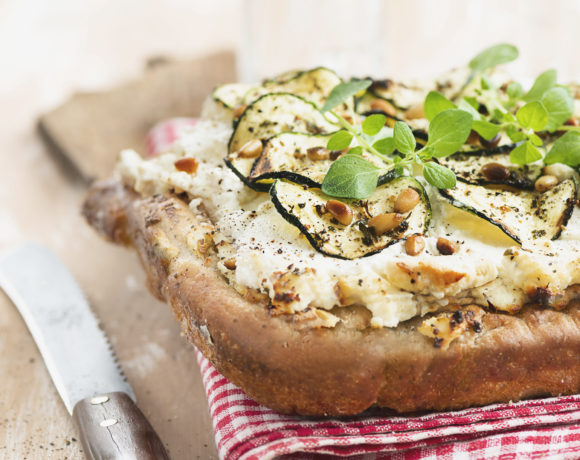 Focaccia with courgette, ricotta and pine nuts
