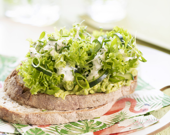 Vital Oats sandwich with avocado, cucumber, garden cress, scallions and a yoghurt herb sauce