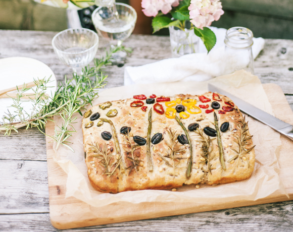 Floral focaccia with vegetables