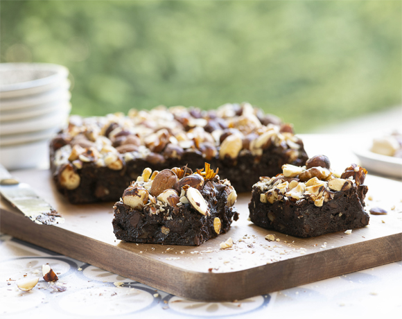 Top Chocolate Cake brownies with nuts